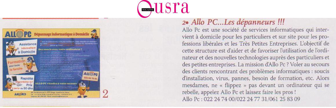 Allopc in Ousra press
