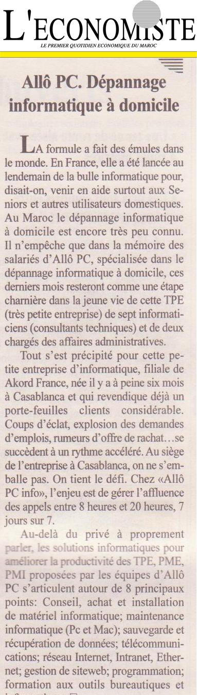 Allopc in l'economiste press